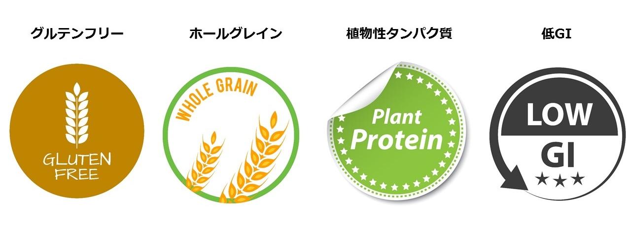 グルテンフリー、ホールグレイン、植物性タンパク、低GI